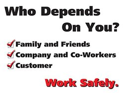 """Accuform Signs PST119 Safety Awareness Poster, """"WHO DEPENDS ON YOU?  WORK SAFELY."""", 18"""" Length x 24"""" Width, Laminated Flexible Plastic"""