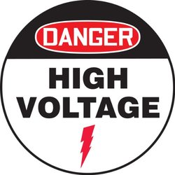 "Accuform Signs MFS718 Slip-Gard Adhesive Vinyl Round Floor Sign, Legend ""DANGER HIGH VOLTAGE"", 17"" Diameter, Red/Black on White"