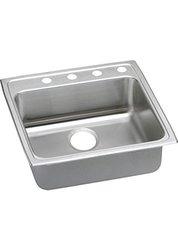 """Elkay Lustertone 18-Ga Stainless Steel 22""""x22""""x5.5"""" 1-Bowl Top Mount Sink"""