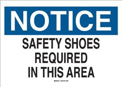 "Brady 42812 Aluminum Protective Wear Sign, 10"" X 14"", Legend ""Safety Shoes Required In This Area"""