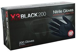 AMMEX X3 Black Nitrile Industrial, Textured Powder Free, 200 count Small