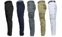 Galaxy By Harvic Men's Belted Fancy Cargo Pants - Khaki - Size: 52 X 32