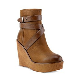 Olivia Miller 'Pelham'  Multi Strap Burnished Wedges - Cognac - Size: 7