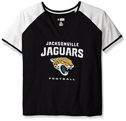 NFL Women's Jacksonville Jaguars Deep Vee Raglan Tee - Black - Size: 1X