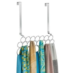 Alta Over Door 20 Loop Scarf & Pashmina Hanging Holder Organizer - Chrome