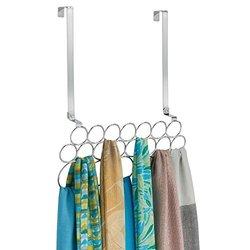 Alta Over Door 20 Loop Scarf & Pashmina Hanging Holder Organizer - Chrome