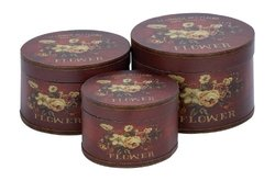 Plutus Round Box with Floral Motifs and Maroon Finish - Set of 3