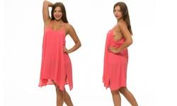 Women's Pullover Sheer Dress w/ Overlay - Fuschia - Size: Large (LSD9724)