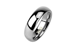 Men's Tungsten and Titanium Traditional Wedding Band Ring - 6mm - Size 10