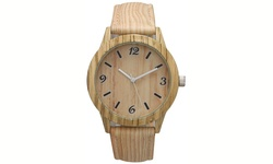 Geneva Unisex Cork and Wood Watch - Cream
