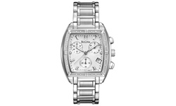 Bulova Women's Diamond Watch Silver-Tone Bracelet/Tonneau-Shape Case