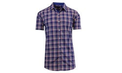 Galaxy by Harvic Men's Plaid Button Down Shirt - Navy/White - Size: S