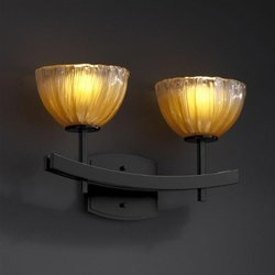 Justice Design GLA-8592-36-GLDC-MBLK Archway Two Light Bath Bar, Glass Options: GLDC: Gold with Clear Rim Glass Shade, Choose Finish: Matte Black Finish, Choose Lamping Option: Standard Lamping