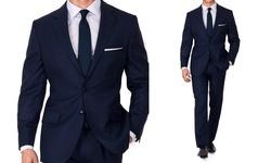 Eleganza Men's Slim-Fit SharkSkin 2-Pc Suit - Navy - Size: 40SX34W