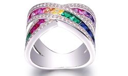 Swarovski Women's 18K White Gold Plated Rainbow Crystal X Ring - Size: 10