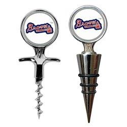 MLB Atlanta Braves Cork Screw and Wine Bottle Topper Set