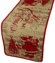 Xia Home Fashions Saint Nick Printed Burlap Christmas Table Runner, 14 by 54-Inch