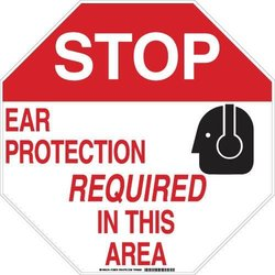 "Brady 128677 Personal Protection Sign, Legend ""Stop Ear Protection Required In This Area"", 18"" Height, 18"" Weight, Black and Red on White"