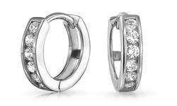 Swarovski Women's 14K Solid White Gold Channel Set Huggie Earrings