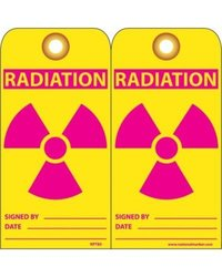 """NMC RPT85G """"RADIATION"""" Accident Prevention Tag with Brass Grommet, Unrippable Vinyl, 3"""" Length, 6"""" Height, Red/Pink on Yellow (Pack of 25)"""
