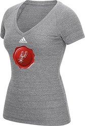 NBA San Antonio Spurs Women's Christmas V-Neck Tee - Grey - Size: XL