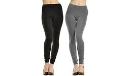 Angelina Women's Seamless Leggings 2PK - Black & Gray - Size: 12