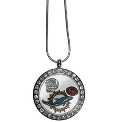 NFL Floating Charm Locket Necklace: Miami Dolphins
