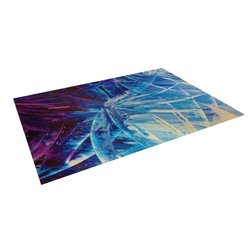 "Kess InHouse Ebi Emporium ""Night Flowers"" Blue White Outdoor Floor Mat/Rug, 4 by 5-Feet"