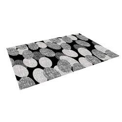 "Kess InHouse Jacqueline Milton ""Seeds-Monochrome"" Black White Outdoor Floor Mat/Rug, 4 by 5-Feet"