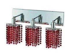 Elegant Lighting 1283W-O-P-BO/RC Mini 8-Inch High 3-Light Wall Sconce, Chrome Finish with Bordeaux (Red) Royal Cut RC Crystal