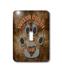 3dRose LLC lsp_22049_1 Welsh Corgi Dog Love Dog Breed In Gray and Brown Single Toggle Switch