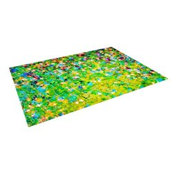 "Kess InHouse Ebi Emporium ""Holiday Cheer"" Yellow Green Outdoor Floor Mat/Rug, 4 by 5-Feet"