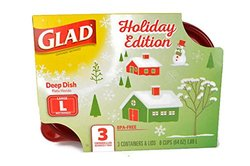 Glad 8 cup/64oz Gladware Large Food Storage Containers - Holiday - 3 count