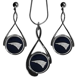 New England Patriots Tear Drop Necklace And Earrings Set