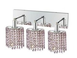 Elegant Lighting 1283W-O-E-RO/RC Mini 8-Inch High 3-Light Wall Sconce, Chrome Finish with Rosaline (Pink) Royal Cut RC Crystal