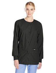 Landau Women's Snap Front Scrub Jacket, Black, X-Small