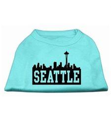 Seattle Skyline Screen Print Pet Shirt - Aqua - Size: XL
