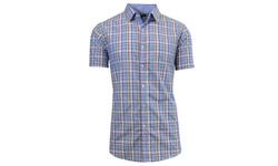 Galaxy by Harvic Men's Plaid Button Down Shirt - L Blue/White - Size: S