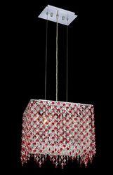 """Moda 10"""" High 2-Light Chrome Pendant Ceiling Light - Bordeaux Red"""