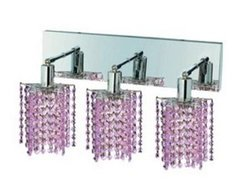 Elegant Lighting 1283W-O-P-RO/RC Mini 8-Inch High 3-Light Wall Sconce, Chrome Finish with Rosaline (Pink) Royal Cut RC Crystal