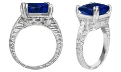 Rel 7.0 CTTW Genuine Diamond & Sapphire Ring - White Gold - Size: 7
