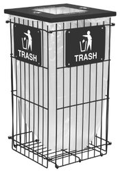 "Ex-Cell Kaiser RGU-1836 T BLK Clean Grid Square Steel Outdoor Fully Collapsible Trash Receptacle, 45 Gallon Capacity, 20"" Length x 20"" Width x 38"" Height, Black"