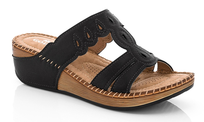 433418f5868 ... 6.5 Lady Godiva Women s 2402-76 Comfort Wedge Sandals - Black - Size   ...