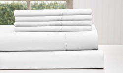 Wexley Home 1200TC Cotton-Rich 6-Piece Bed Sheet Set - White - Size: King
