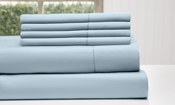 Wexley Home 1200TC Cotton-Rich 6-Pc Bed Sheet Set - Celestial Blue - Full