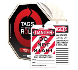 "Accuform""DANGER DO NOT START"" By-The-Roll Lockout Tag - Red/Black on White"