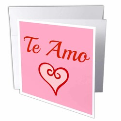 "Te Amo I Love You in Spanish Red Letters 6""x6"" Greeting Cards - Set of 12"