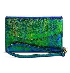 Women's Iridescent Cell Phone Case Wallet - Green