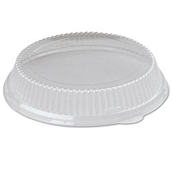 "Genpak 94010 50-Piece 10.25"" x 1.38"" Clear Plastic Plate Lid - Case of 4"