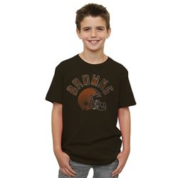 NFL Cleveland Browns Boys Kickoff Crew T-Shirt - Chocolate - Size: X-Large